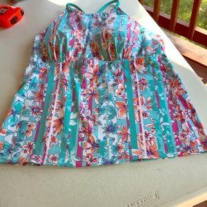 Land's End Sz 16 swimsuit top-open back-floral